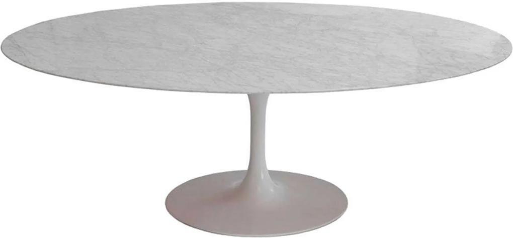 Mesa Jantar Oval Saarinen Mármore Carrara 137x90x73