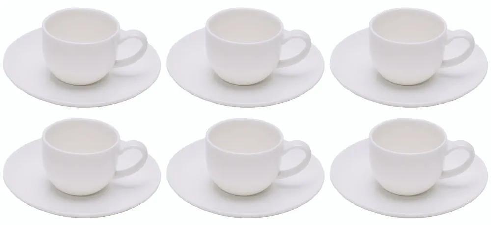 Jogo Xícaras Para Café 6 Peças Porcelana Com Pires Nice Plain 90ml 1035 Wolff