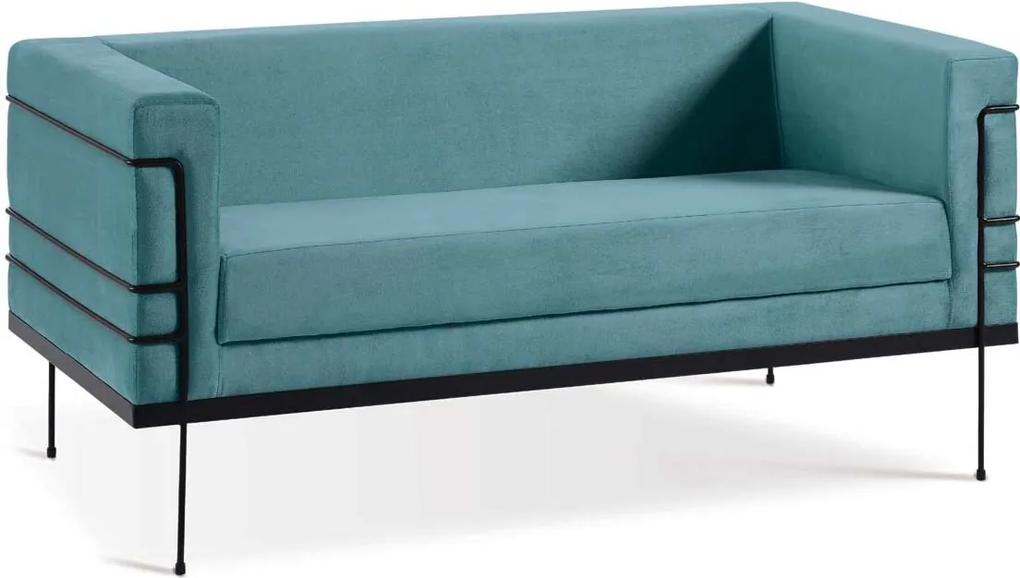 Sofá Le Corbusier 2 Lugares Aço Preto Veludo Azul Daf