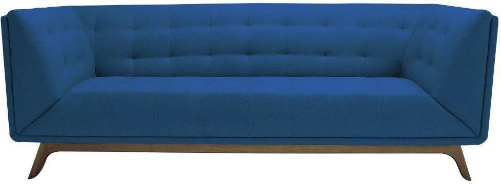 Sofá 3 Lugares Temak 210cm Veludo Azul - Gran Belo