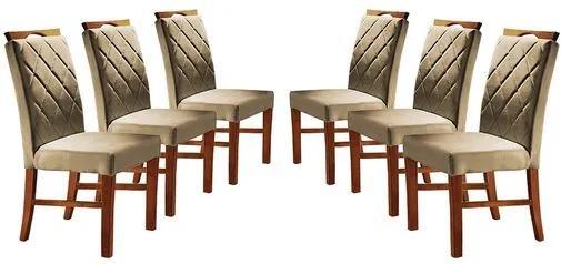 Kit 6 Cadeiras de Jantar Estofada Bege em Veludo Kare
