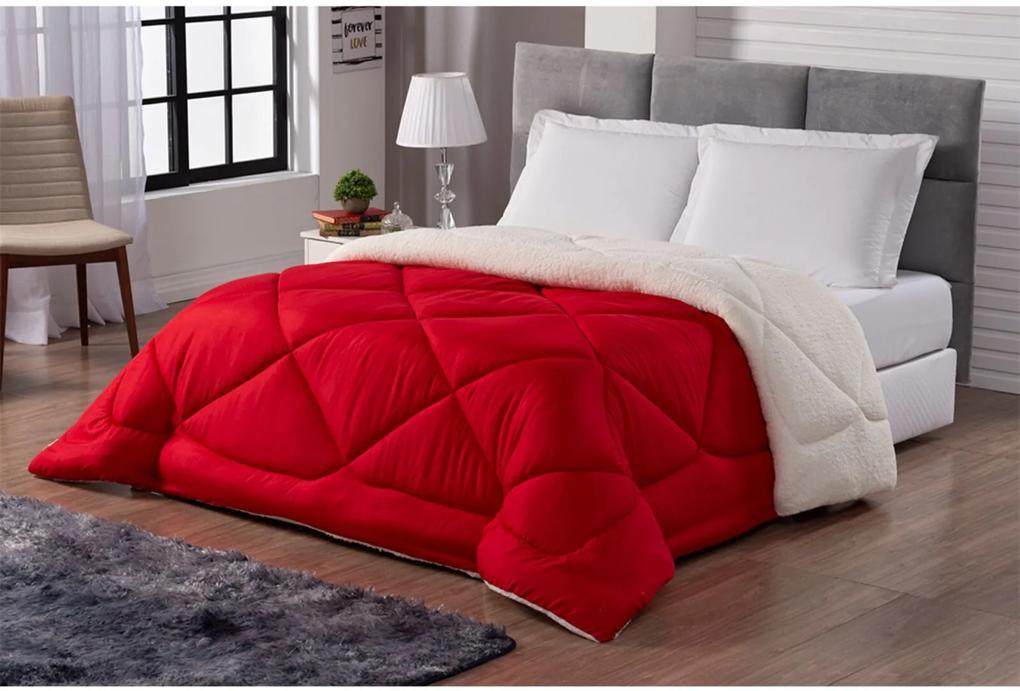 Cobertor Sherpa Sweet Dupla Face Tamanho Queen Vermelho e Palha Casa Dona