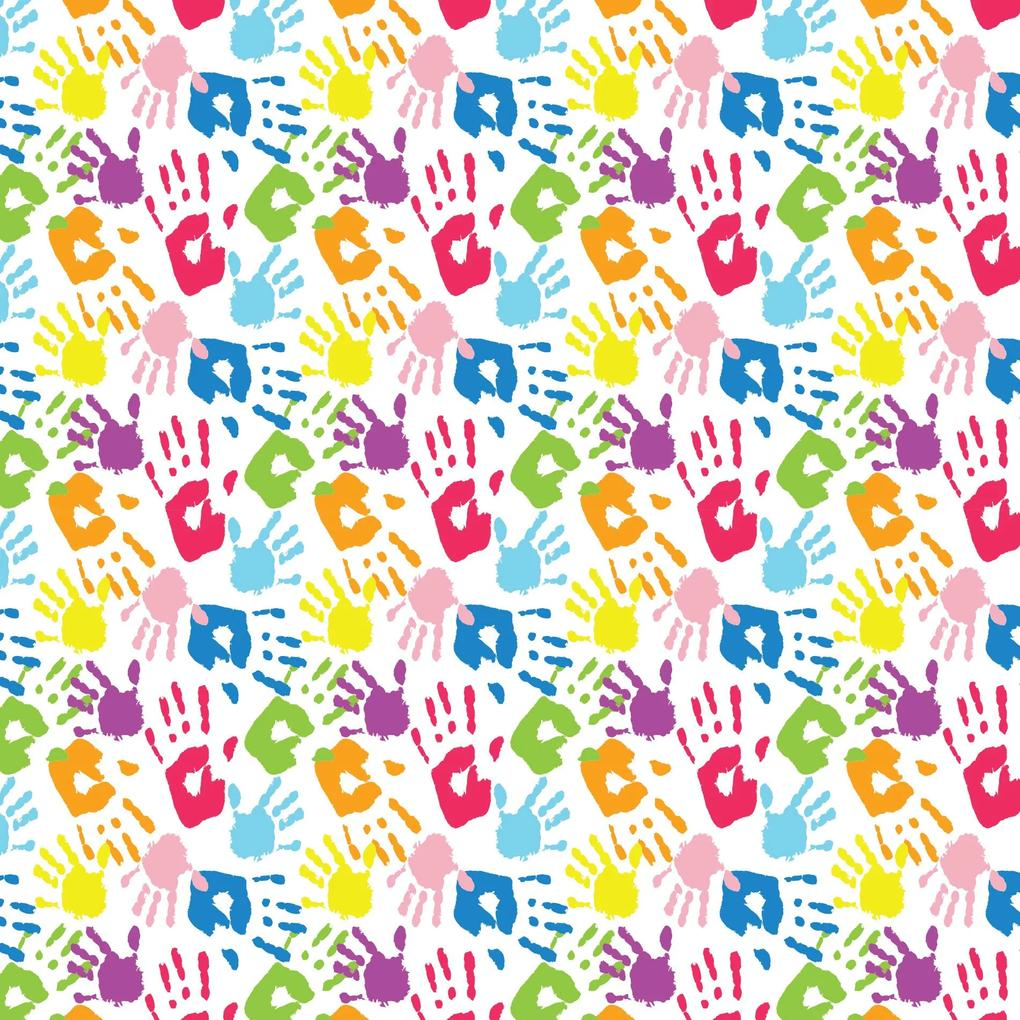 Papel de Parede Infantil Adesivo Mãos Coloridas 2,70x0,57m