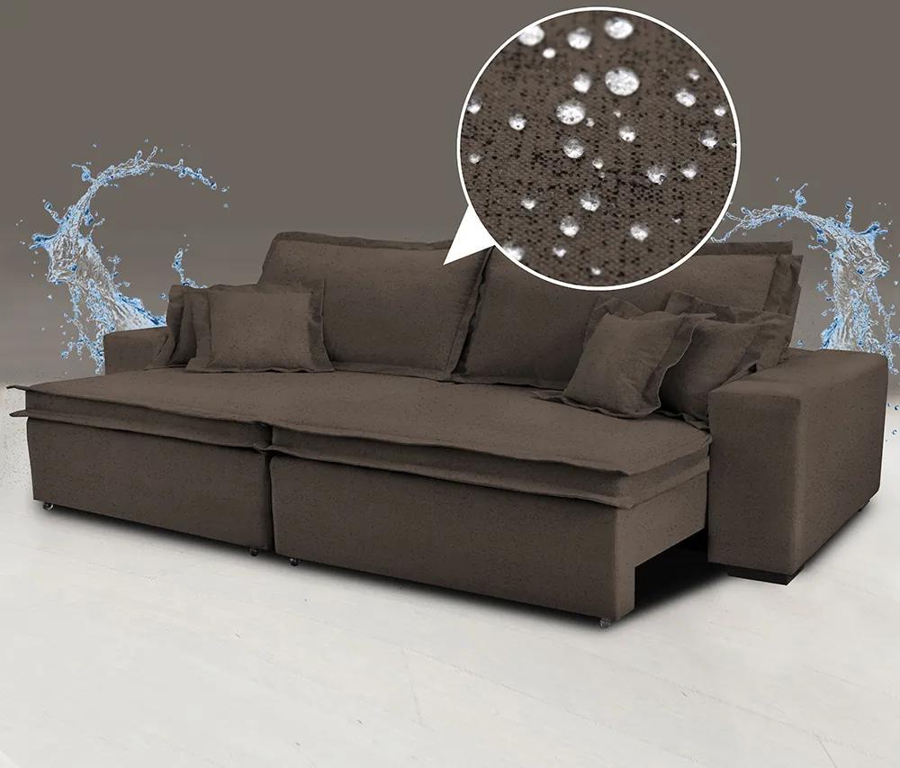 Sofá 3,12m Tecido Impermeabilizado De Linho Com Molas Cama Inbox Premium Marrom