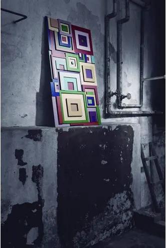 Adorno Quadrati Sofisticado em MDF Pintado - 17907 Sun House