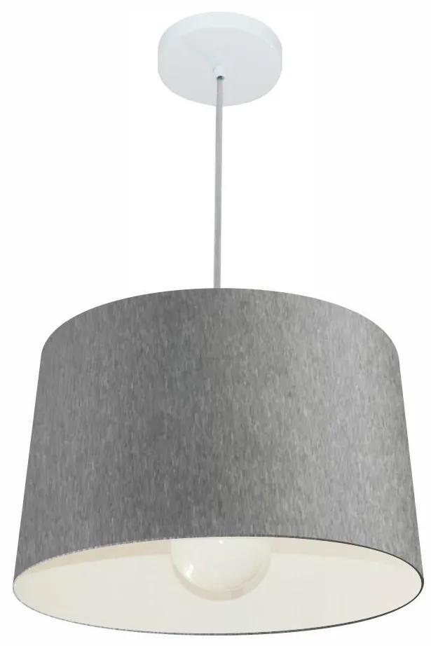Lustre Pendente Cone Md-4241 Cúpula em Tecido 30/45x40cm Rustico Cinza - Bivolt