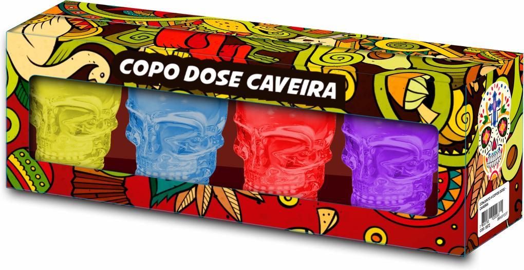 Conjunto 4 copos dose - caveira