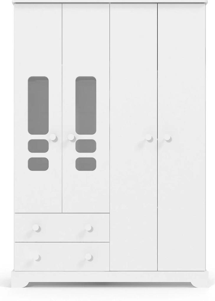 Roupeiro 4 portas Smart Branco-Brilho Matic Móveis