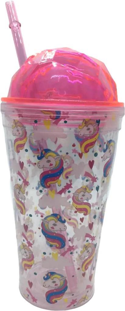 Copo com canudo 450 ml Unicornio Colorido