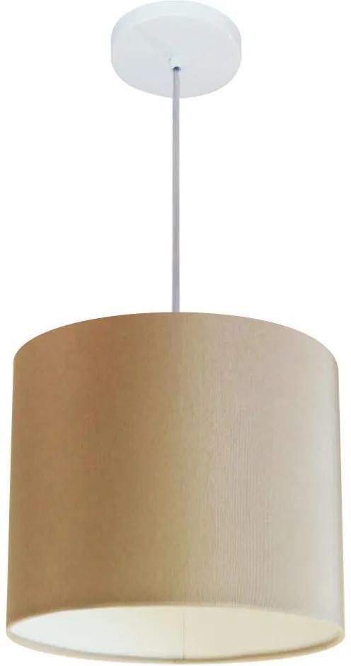Lustre Pendente Cilíndrico Md-4113 Cúpula em Tecido 30x25cm Palha - Bivolt