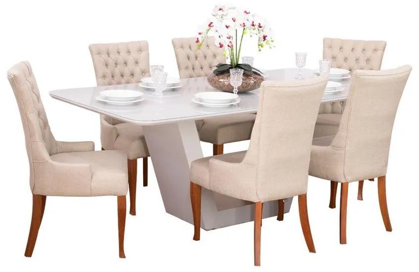Conjunto Sala de Jantar Mesa Lilie com 6 Cadeiras Judy - Wood Prime 38707