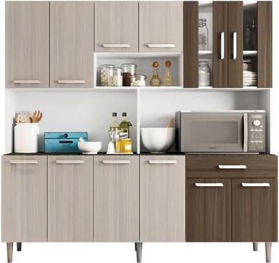 Kit Cozinha Compacta Clara 12 Portas Branco/Rovere/Amêndoa - Poliman