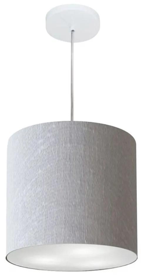 Lustre Pendente Cilíndrico Md-4036 Cúpula em Tecido 30x31cm Rustico Cinza - Bivolt