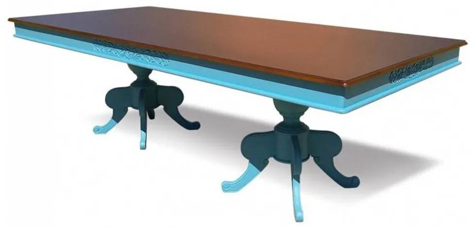 Mesa de Jantar Monarca Entalhada Madeira Maciça Design Clássico Peça Artesanal