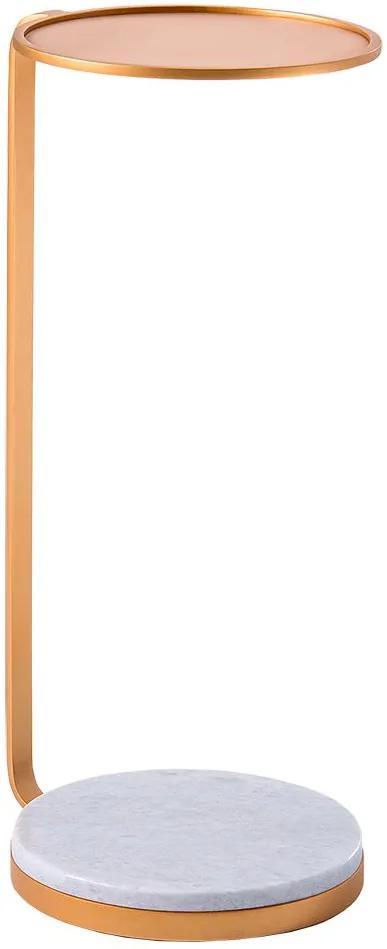Mesa de Aproximação Drink 30cm Aço Dourado/Mármore Branco - Gran Belo