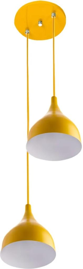 Lustre Pendente Aluminio Gota Duplo 21cm Amarelo