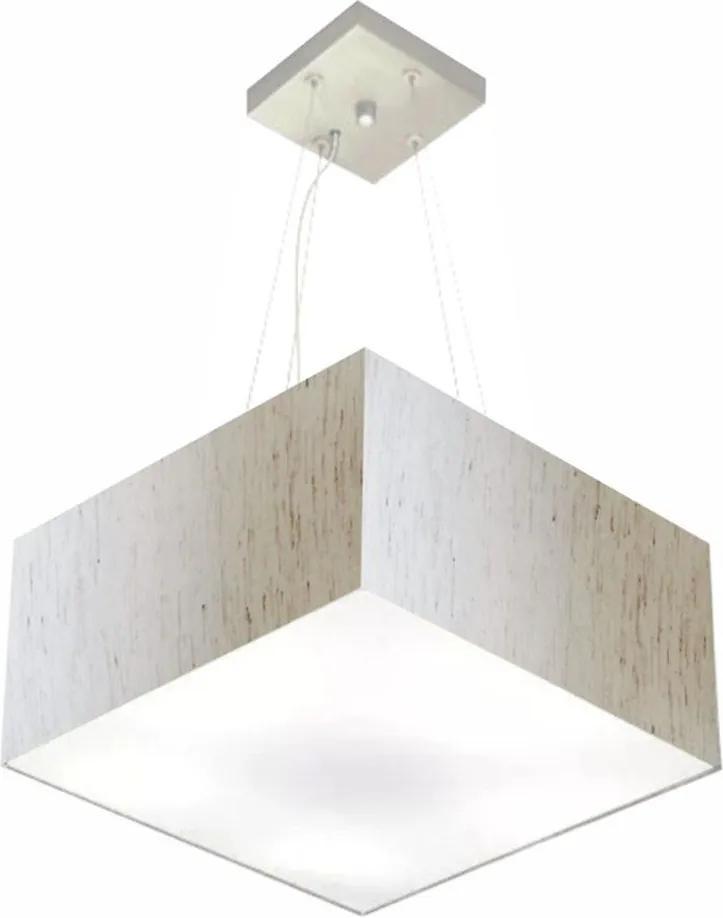 Lustre Pendente Quadrado Md-4005 Cúpula em Tecido 21/35x35cm Linho Bege - Bivolt