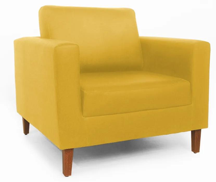 Poltrona Decorativa Gabriela Suede Amarelo
