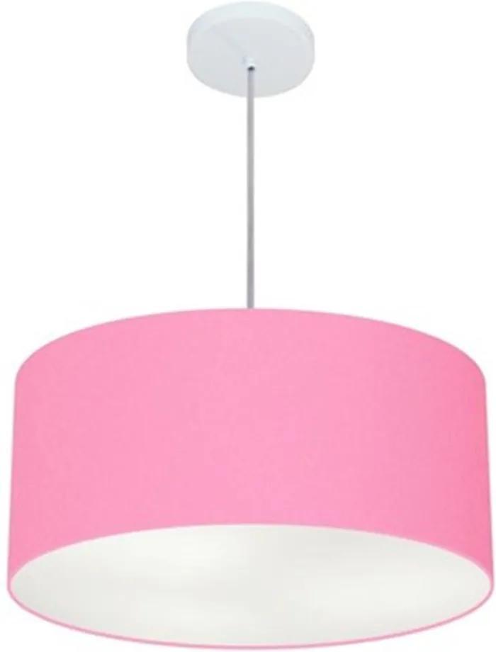 Lustre Pendente Cilíndrico Md-4049 Cúpula em Tecido 50x21cm Rosa Bebê - Bivolt