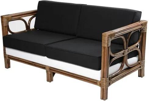 Sofa Odessa 2 Lugares Assento Estofado em Sarja Preto e Branco com Base Madeira Apui - 44777 Sun House