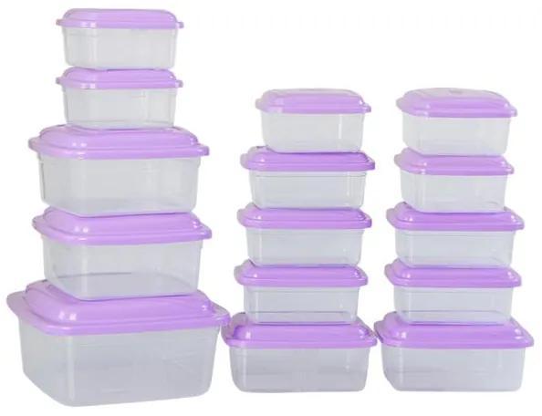 Kit com 15 Potes Transparentes e Lilás
