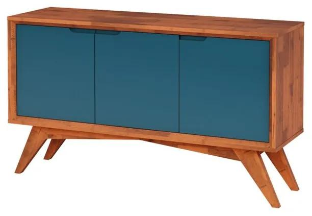 Buffet Serafim 3 Portas Natural e Azul - Wood Prime MP 27617