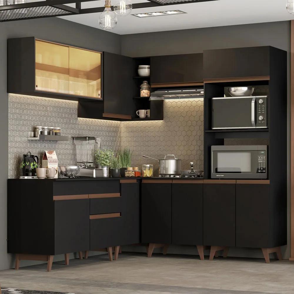 Cozinha Completa de Canto Madesa Reims 402001 com Armário e Balcão Preto Cor:Preto