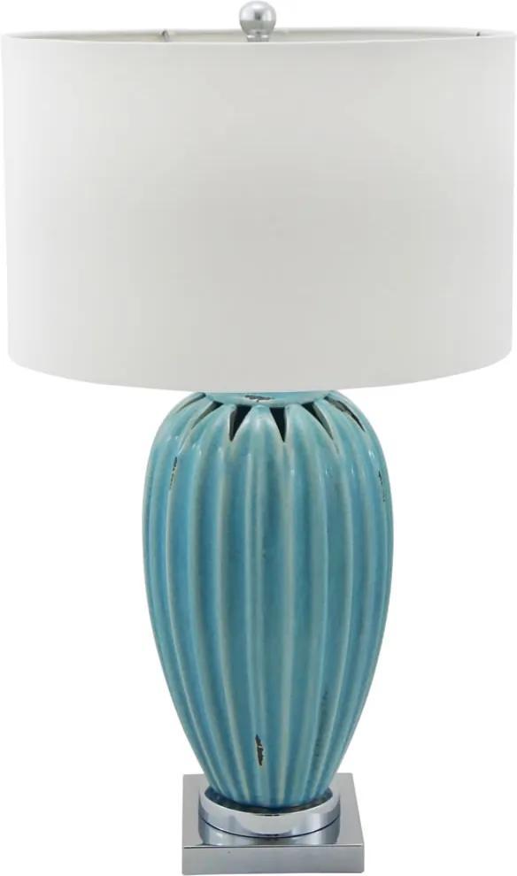 Abajur De Cerâmica Azul Com Cúpula Illumino