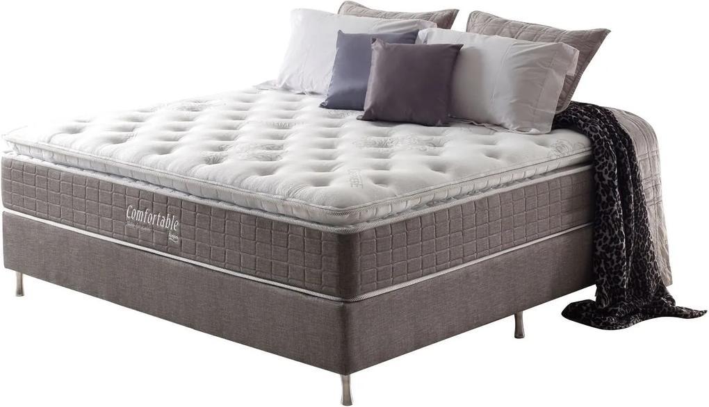 Conjunto Cama Box +Colchão de Casal Confortable Mola Ensacada 138X188X73 Cashmere Macio Marrom Anjos