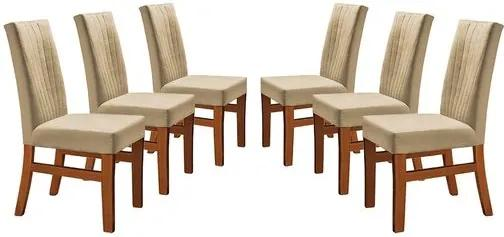 Kit 6 Cadeiras de Jantar Estofada Bege em Veludo Düz
