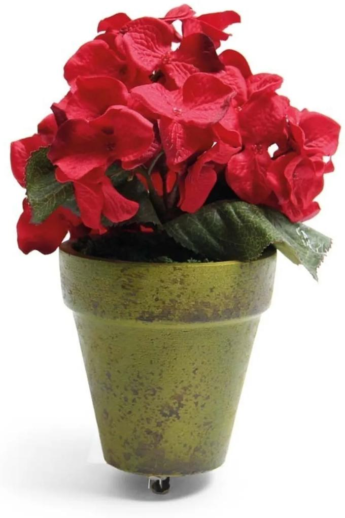 Vaso Hortênsia Flor Decoração Natalina Cor Vermelho 20x8 Cm