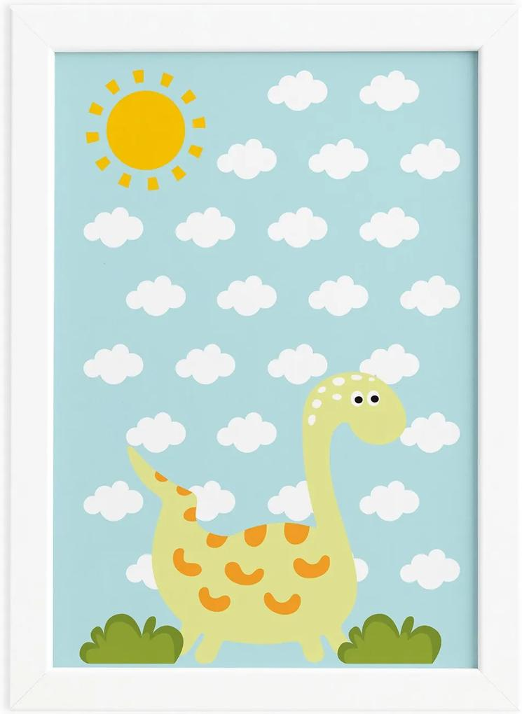 Quadro Infantil Dinossauro Baby Amarelo 33x43 Moldura Branca