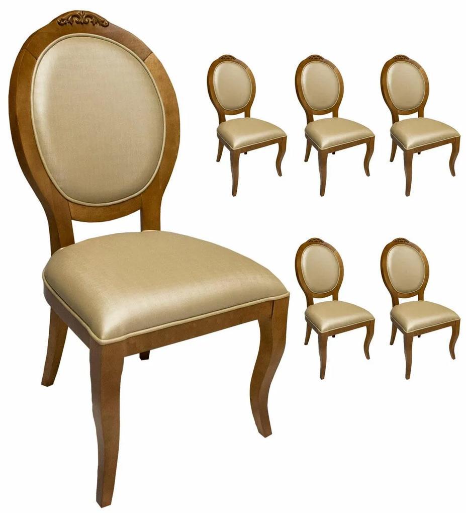 Jogo 6 Cadeiras Medalhão Lille - Freijó - Tecido Facto Pérola Clássico Kleiner Schein