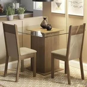 Conjunto Sala de Jantar Madesa Lau Mesa Tampo de Vidro com 2 Cadeiras Rustic/Crema/Pérola Cor:Rustic/Crema/Pérola