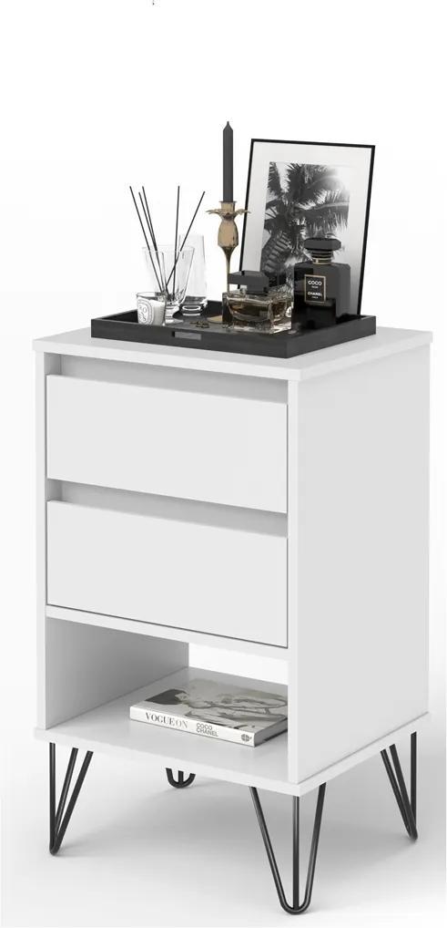 Mesa De Cabeceira Iron Branco – EJ Móveis