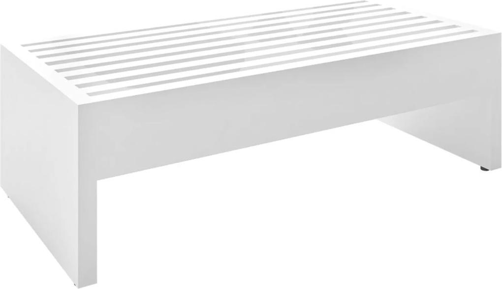 Mesa de Centro Decorativa Sala de Estar 75cm Slatted MDP Branco Brilho - Gran Belo