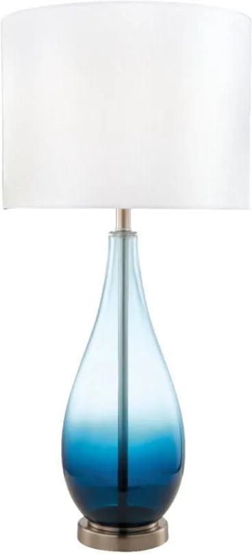 Abajur Em Vidro Azul E Cupula Em Tecido