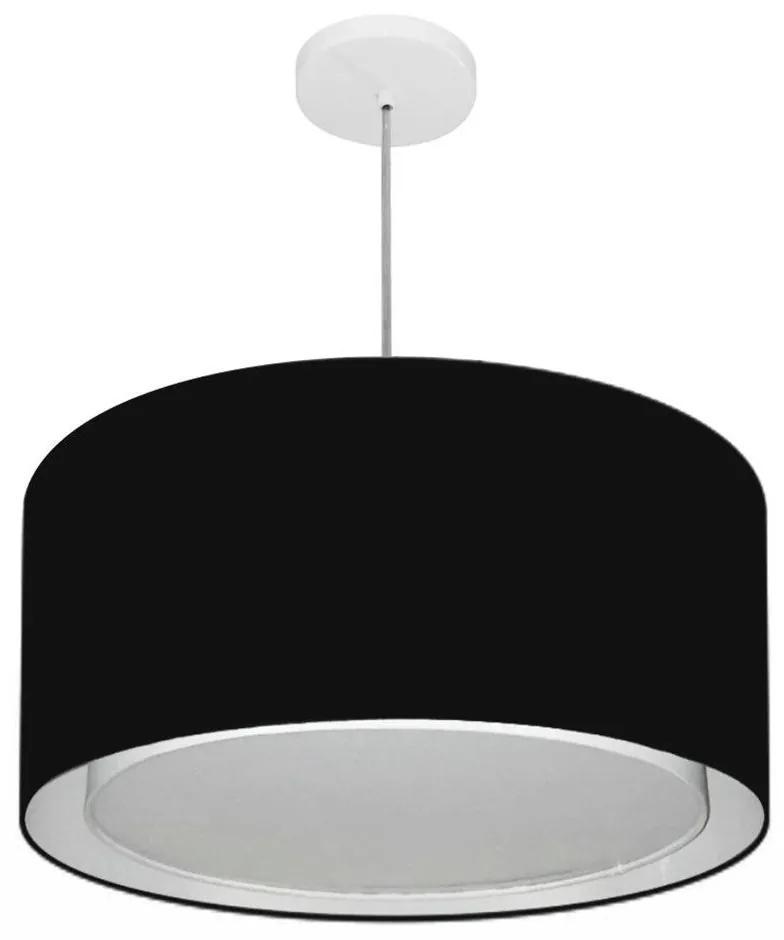 Lustre Pendente Cilíndrico Duplo Md-4288 Cúpula em Tecido 50x30cm Preto - Bivolt