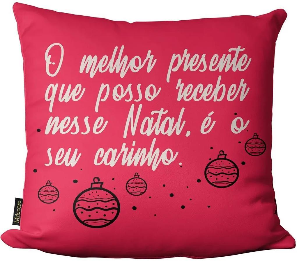 Capa para Almofada Mdecore Natal Presente e Enfeites Rosa -45x45cm