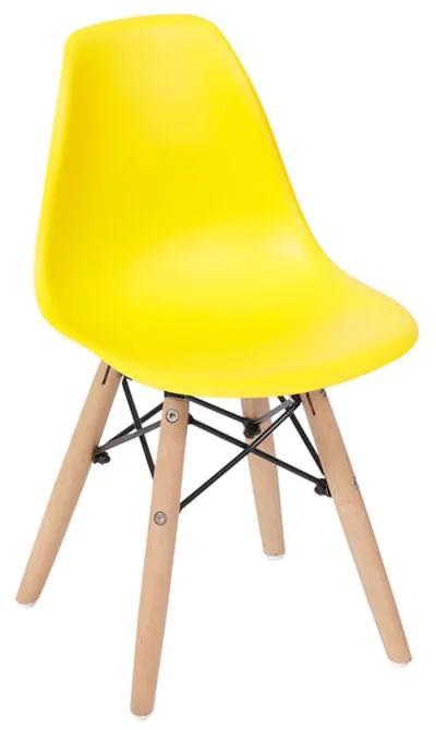 Cadeira Eiffel Infantil Base Madeira - Amarela