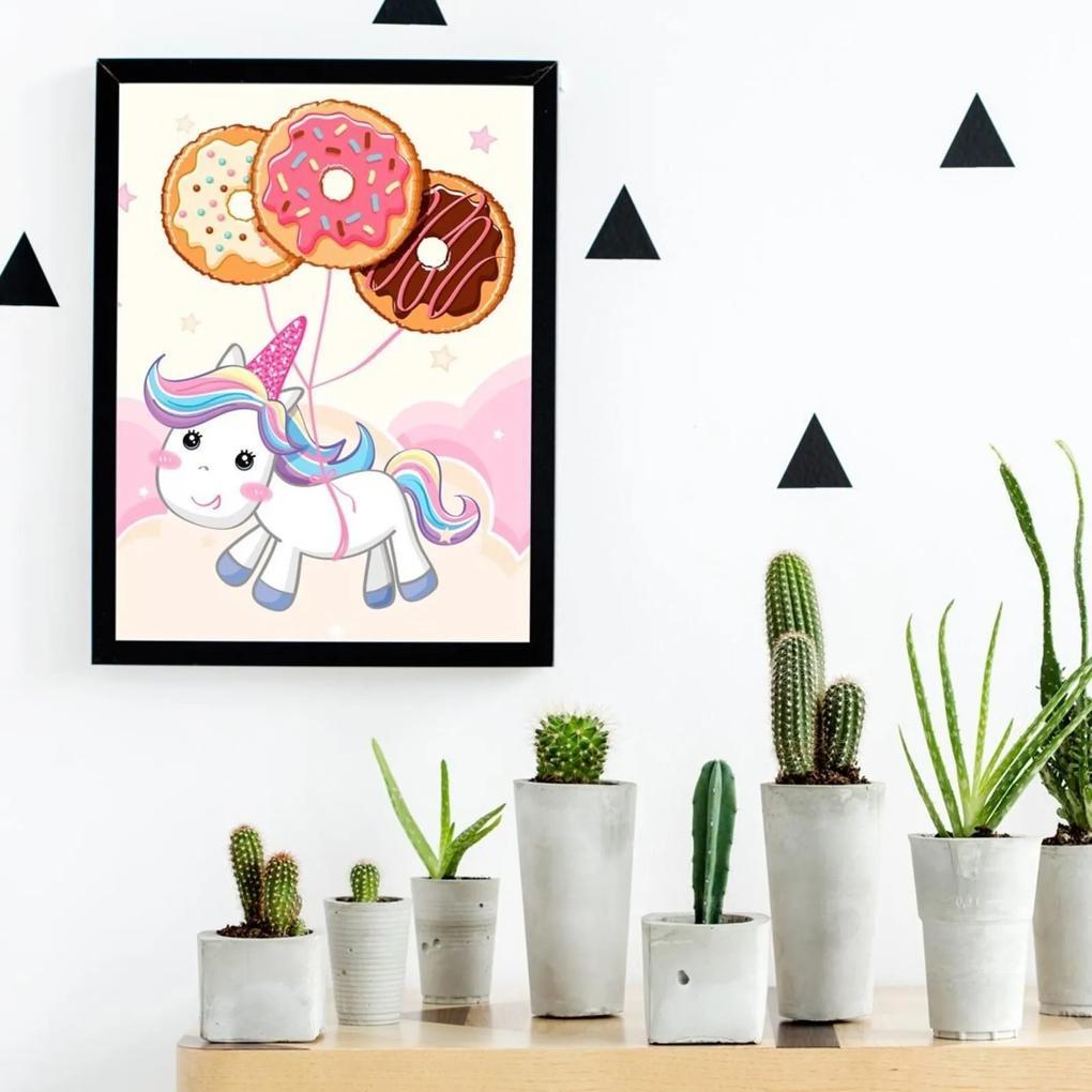 Quadro Decorativo Infantil Baby Unicorn Preto - 20x25cm