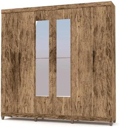 Guarda Roupa Casal Palmas 6 Portas e Espelho Castanho/Rústico - VLR Móveis