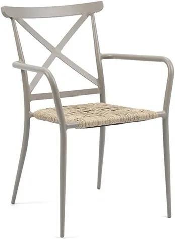 Cadeira C/Braço Skinny em Alumínio e Rattan para Jardim