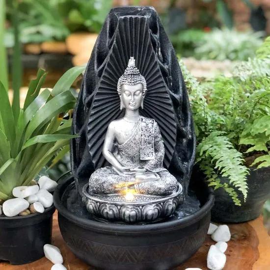 Fonte de Água Buda Tailandês Silver