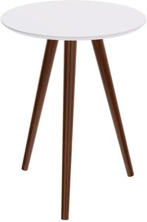 Mesa Lateral Formato Tampo Branco Fosco com Pes Escuros 50 cm (LARG) - 50464 Sun House