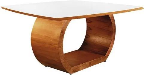 Mesa de Jantar 6 Lugares de Madeira Imbuia com Tampo de Vidro Branco 1,40m Sirkel