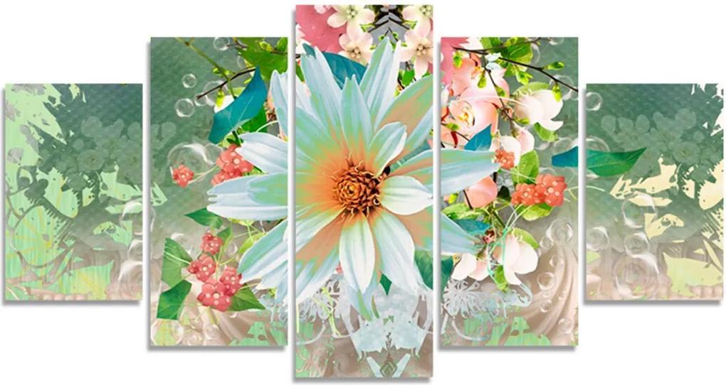 Quadro Decorativo Flor Branca Obstrato Quarto Sala Casa