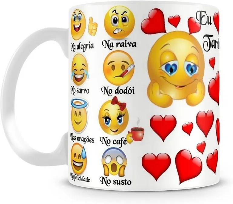 Caneca Personalizada Emoji Também Te Amo