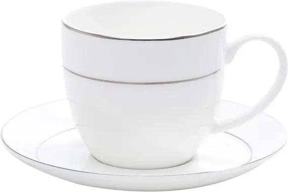 Jogo Xícaras Para Chá Porcelana 6 Peças Com Pires Bone China Nice Silver 300ml 1191 Wolff