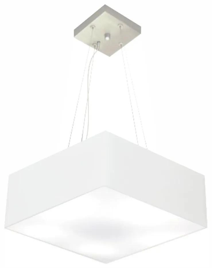 Lustre Pendente Quadrado Vivare Md-4194 Cúpula em Tecido 12/40x40cm - Bivolt - Branco - 110V/220V (Bivolt)